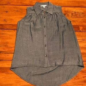CAbi Sleeveless Button Down with Open Back